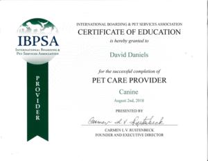 IBPSA Certificate to David Daniels